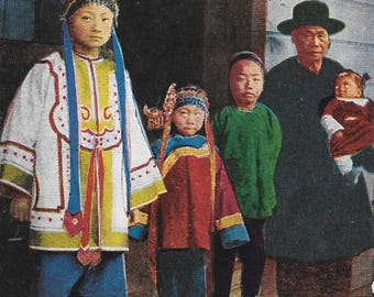 A Chinese Family, Antique Circa 1915 Unused Color Postcard, Pacific Novelty Co., San Francisco & Los Angeles
