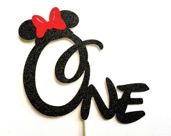 Minnie Mouse Cake Topper Red Glitter Minnie Cake Topper First Birthday Party Cake Stick One Minnie Cake Decoration Name Topper Customized