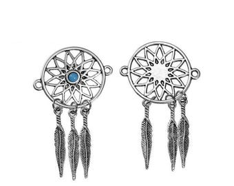 5 connectors Dream Catcher 3 feathers Turquoise 55mm