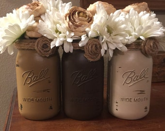 Rustic table centerpiece Dining room table decor New home gift Mason jar Centerpieces Painted mason jars Brown Country home decor Rustic