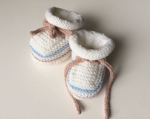 Hand Knit Baby Booties / Slippers /Shoes, White Merino Wool Baby Booties with Pastel Stripes, New-born Baby Knitted Booties
