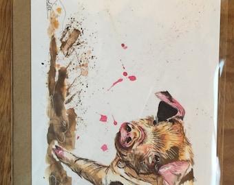 Muddy piglet greeting card