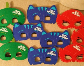 Ready to ship! Personalized PJ Masks Birthday Party Favors! Pick Any Mixture of Characters! PJ Mask Felt Masks