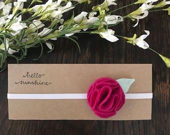 Felt Flower & Fabric Leaf Headband for Newborn/Baby/Toddler/Little Girl