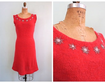 Vintage 1960's Pink Beaded Knit Dress | Size Medium