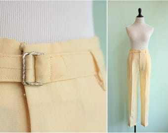 Vintage 1950s Ivory Wool Trousers | Size Small