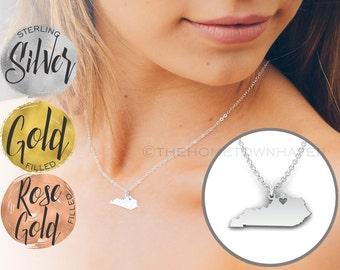 Kentucky Necklace - Kentucky State map necklace, I heart Kentucky necklace