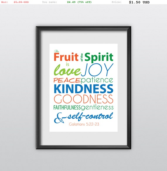 75% off Fruit Of The Spirit Galatians 5:22-23 Printable Gift Idea Christian Poster Nursery Decor Bible Verse Wall Art (T09)