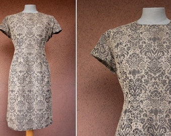 1960's Beige Brown Tapestry Dress - Size M
