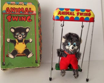 1960's Tin Litho Wind-Up Mechanical Animal Swing  Japan M M