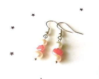 Pink & white fresh water pearl earrings - sterling silver earrings - gemstone earrings - gift for her