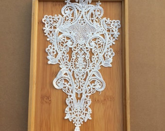 White Lace Appliques Venice Lace Flower Collars Corsage Costome Decor Lace Patches 1pc YL537