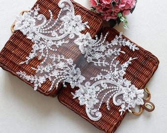 1pc White Lace Appliques Venice Lace Flower Collars Corsage Costome Decor Lace Patches YL551