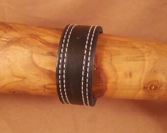 FREE SHIPPING! Black thick leather Cuff! Black Bracelet! Man bracelet