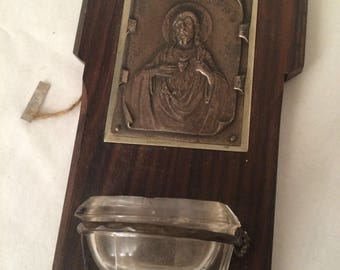 Vintage Holy Water Font with Inset Catholic Medal Circa 1950s 1960s Catholocism Vatican II Mid Century Sacred Object Holy