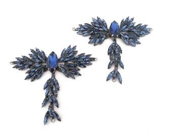 1 pair of T-strap  dark blue  or white rhinestone  shoe/sandal upper-decoration for  women summer thong sandal making