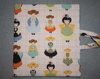 Art and activity bag, travel tote, pencil case with zip, drawing and note pad holders, A5. Dolls fabric.