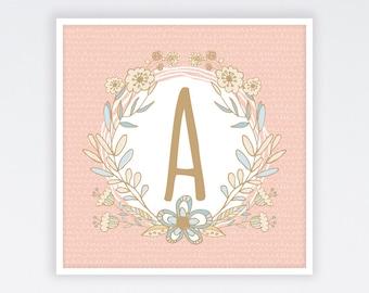 Baby Girl Monogram Print, Monogram Nursery Print, Monogram Print, Monogram Nursery Art