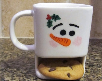 Snowman milk and cookie cup, Snowman cup, Snowman cookies and milk, Christmas gift, Christmas mug, cookie cup, cookie mug