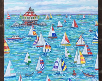 Annapolis Sailboat print of orginal painting 24 x 24 inches, bright and happy with Thomas Point in the distance