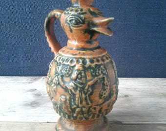 Bird jar, vase bird, west germany rare, Walter Becht, WB 102, German vase bird, ceramics, ceramic bird ethnic, Christmas gift, 70s