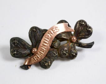 Vintage WW1 Armentieres sweetheart clover brooch