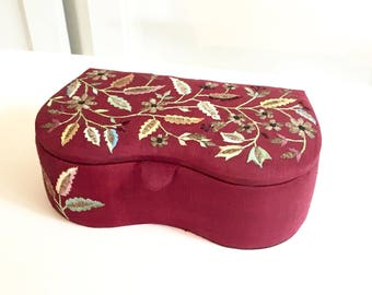 Jewelry Box, Trinket Vanity Box, Silk Embroidered Box