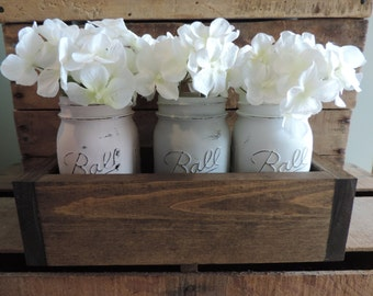 Rustic Planter Box w/ Distressed Mason Jars, Gift for Her, Flower Arrangement, Friend Gift, Mother Gift, Centerpiece