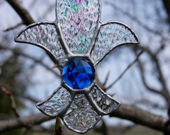 Stained Glass Fleur de Lis Ornament or Sun Catcher