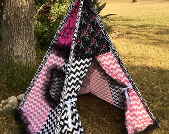 Paris pink and black chevron with black tulle ruffles galore