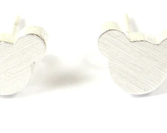 Silver Teddy Bear/Mouse Earrings