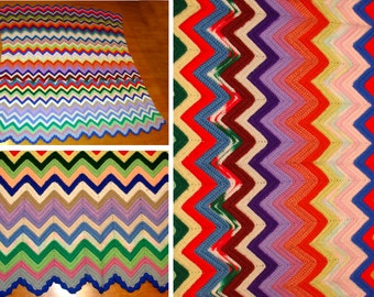 Vintage hand knit blanket-Colorful zig zag hand made afghan-Beautiful afghan rug-Yarn knit afghan-Vintage knit throw