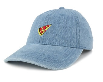 Fashionable Washed Out Denim Pizza Embroidered Accent Baseball Cap (143765-PIZZA)