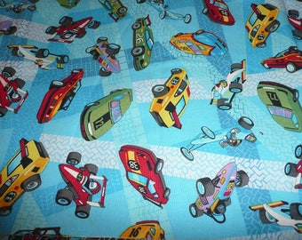 1 Yard Let's Race Cotton Fabric By Don Baker Blue Colors