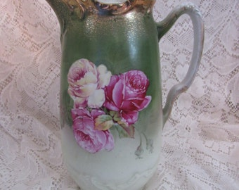 Vintage Chocolate Pot Wheelock Germany Handpainted Roses, California Rose