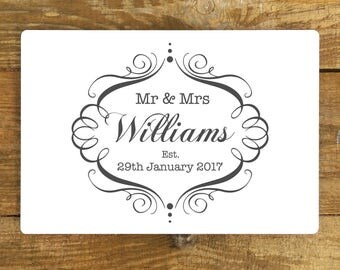 Personalised Wedding Sign - Metal Plaque - Vintage style - Anniversary Gift - Bride and Groom Present - A4 plaque - 200mm x 300mm