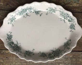 Buffalo Pottery Oval Platter Scalloped Green Transferware