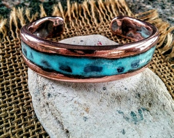 Blue Glow Copper Cuff.  3.5mm X 15mm Thick and Wide.