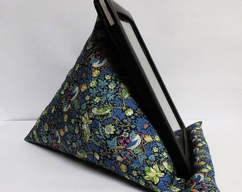 Tablet bean bag stand. ipad, kindle, tablet. Liberty of London Strawberry thief cotton fabric. 2 size options.