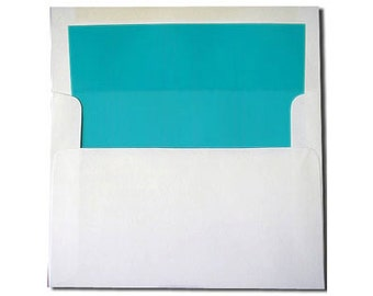 20 White with Aqua Turquoise Lined Envelopes - A7 Size