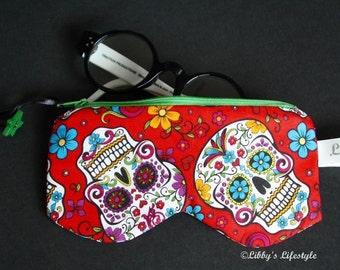 Sugar Skulls Glasses case. Handmade.