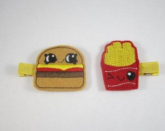 NEW hamburger and fries handmade felt embroidered hair clip set