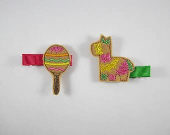 NEW Cinco de Mayo maraca pinata felt embroidered hair clip set