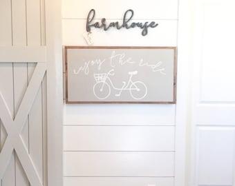 "18""X36"" Enjoy The Ride Bike Wood Framed Sign"