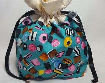 "Small Lined DRAWSTRING Bag, LIQUORICE, #34, 10""x7""x3"", project bag, storage bag"