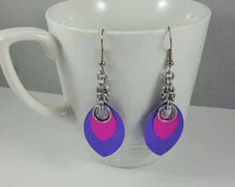 Pink and Purple Scale Maille Earrings