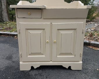 Elegant Hand Painted Shabby Chic White Vintage Washstand Cabinet   LOCAL PICKUP /  DELIVERY Only