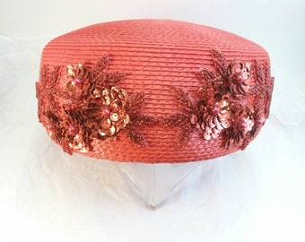Vintage beaded red pillbox hat