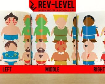 Street Fighter II Vector Mug - SF2 Capcom Inspired Ryu, Ken, Chun Li, Sagat Cup by Rev-Level
