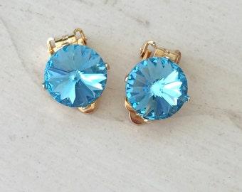 Aquamarine Crystal Clip On Earrings, Yellow Gold